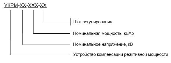 Установки компенсации реактивной мощности структура условного обозначения